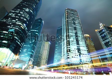 Long exposure photographs of megacity night dusk Highway Traffic, Shot in Shanghai - stock photo