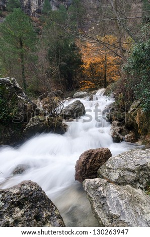 Long exposure photography of a wild river in Riopar (Albacete) - Spain
