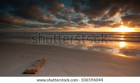 long exposure seascape - stock photo