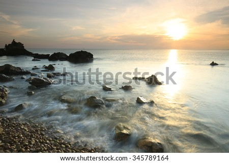Long Exposure Seascape at Kung wiman beach,Chantaburi, Thailand