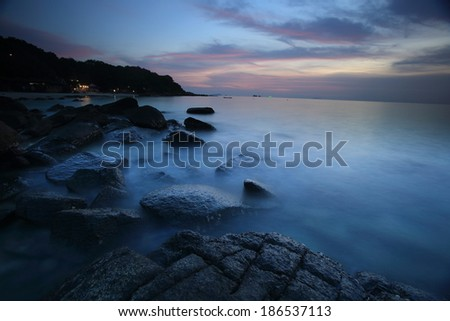 Long Exposure Seascape at the Samet Island , Rayong, Thailand