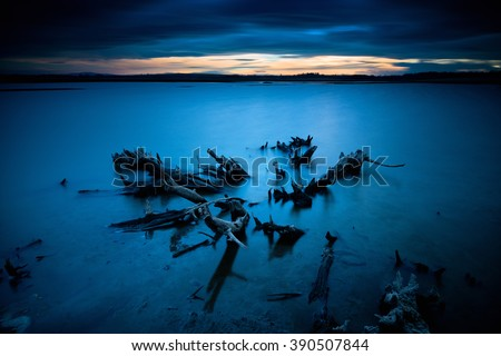 Long exposure seascape during blue hour sunset with rocks and roots as foreground. Nature composition - stock photo