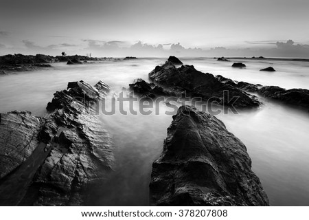 Long exposure seascape in black and white. Nature composition. - stock photo