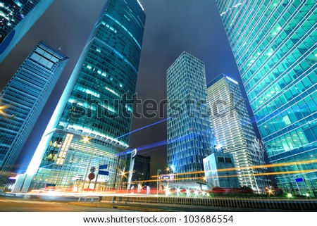 Long exposure shooting night, a busy street in Shanghai Lujiazui - stock photo