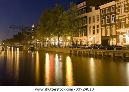 Long exposure shot of Amsterdam at night