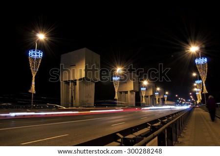 Long exposure shot of Highway viaduct vehicle night scene - stock photo