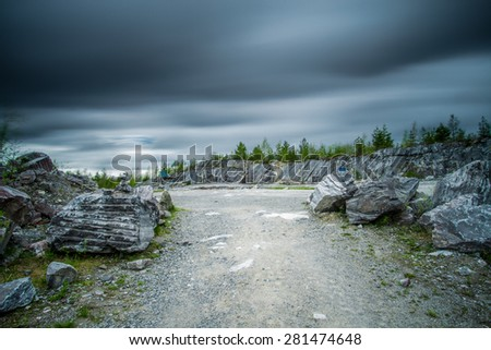 Long exposure shot of marble quarry on the overcast day in Ruskeala Mountain Park, Karelia, Russia.