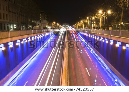 Long exposure shot of traffic in Brussels - stock photo