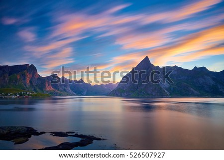 Long exposure sunset at Reine, Lofoten, Norway