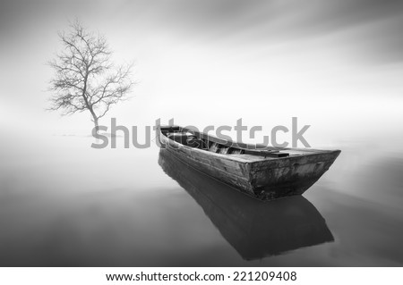 long exposure The boat and single tree during haze . - stock photo