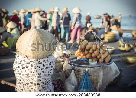 Long Hai, Ba Ria - Vung Tau Province, Vietnam - 31 May 2015: A street vendor in Long Hai, Ba Ria - Vung Tau Province