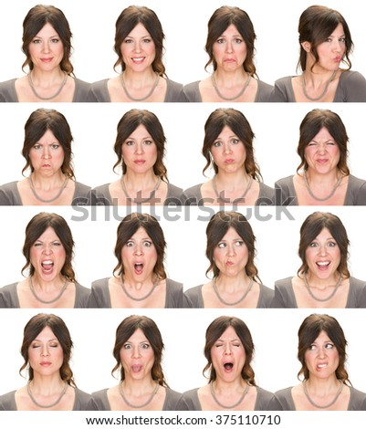 long hair brunette adult casual elegant caucasian woman collection set of face expression like happy, sad, angry, surprise, yawn isolated on white