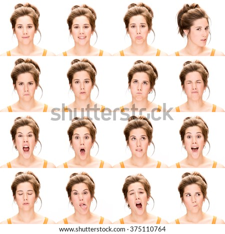 long hair brunette young caucasian woman collection set of face expression like happy, sad, angry, surprise, yawn isolated on white - stock photo