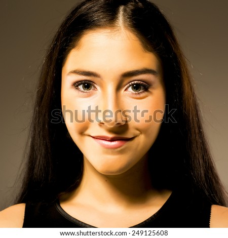 long hair, concept of happy student, young pretty woman - stock photo