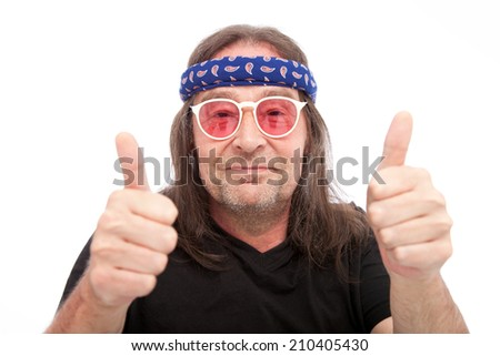 Long Hair Man Showing Two Thumbs up Isolated on White Background. Emphasizing Good Job. - stock photo