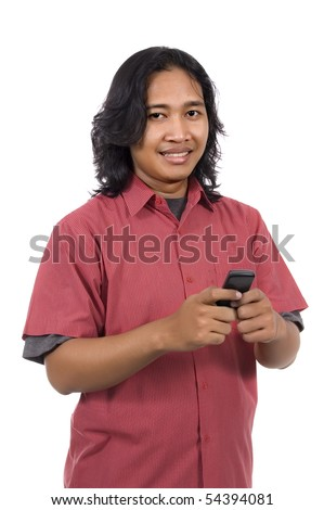 Long hair man using cellphone isolated on white background