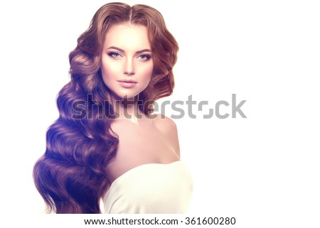 Long hair. Waves Curls Hairstyle. - stock photo