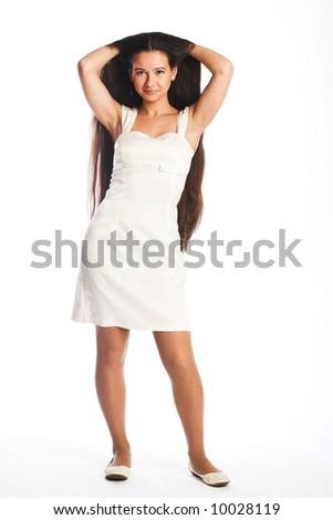 long hair woman in white dress - stock photo