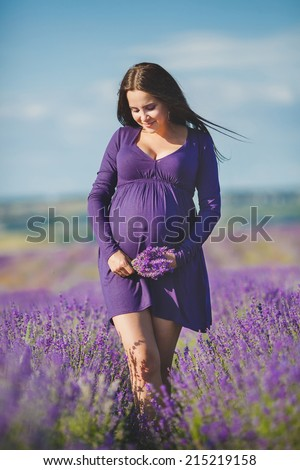 long-haired pretty pregnant woman in a lavender field with basket of lavender flowers. Young romantic pregnant woman picks some lavender from purple lavender field. In dress, bouquet of lavender - stock photo