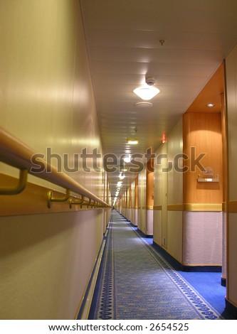 Long Hall on Cruise Ship - stock photo
