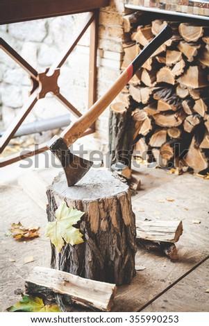 Long-handled ax sticking in a tree stump split piece of wood lying beside