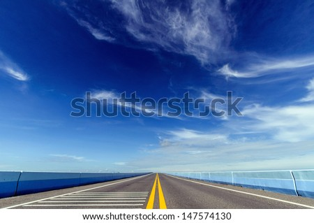 long highway crossing bridge - stock photo