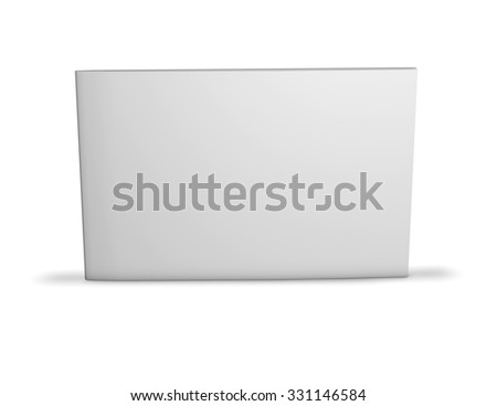 Long horizontal booklet with blank cover standing on floor with shadow. - stock photo