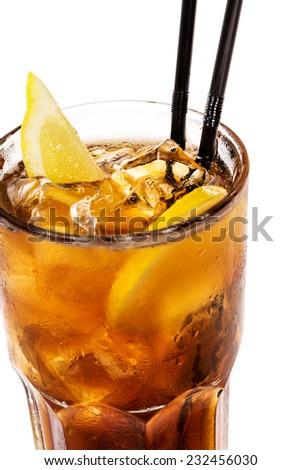 long island ice tea cocktail - stock photo
