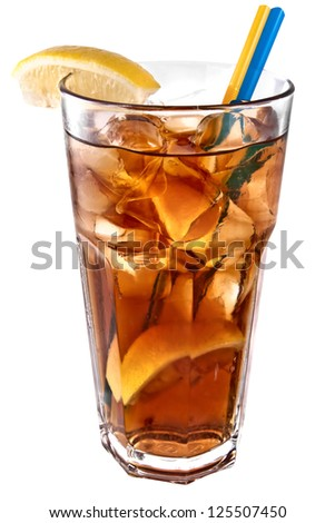 Long island ice tea coctail isolated on white background - stock photo
