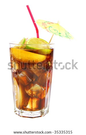 long island ice tea isolated on white background