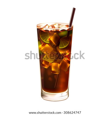 Long island ice tea realistic cocktail in glass with drinking straw isolated on white background  illustration