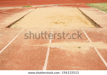 long jump pit in sports stadium