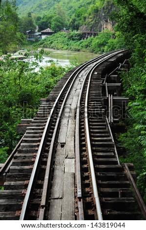 Long-lasting railway cross the river - stock photo