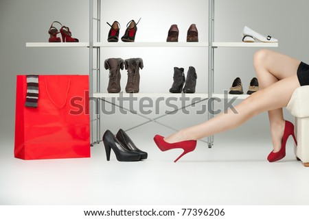 long legs red high heels caucasian woman - stock photo