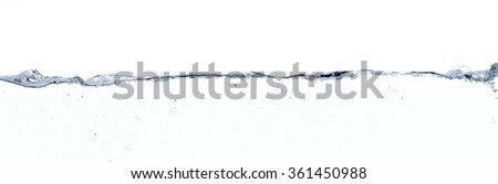 Long line water surface against white background. - stock photo