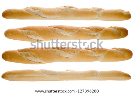 Long loaf from four sides isolated on a white background. - stock photo