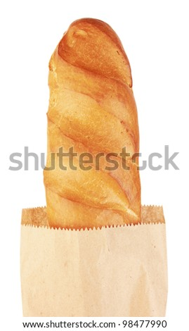 long loaf in paper bag, isolated on white background - stock photo