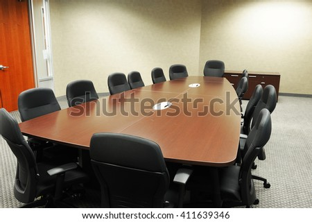 Long Meeting Table Chairs Meeting Room Stock Photo Royalty Free - Long meeting table