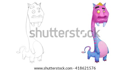 Long Neck Hippie Creature Coloring Book Outline Sketch Animal Monster Mascot Character Design