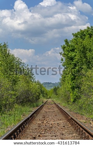 Long old railway in the forest - stock photo
