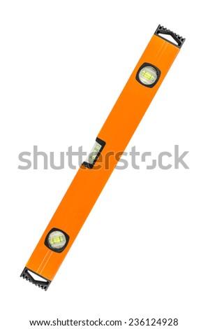 long orange building level on white background - stock photo