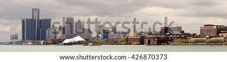 Long Panoramic Detroit Michigan River Downtown City Skyline