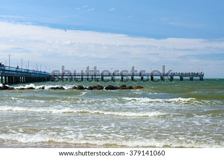 Long pier in the popular resort of Palanga, Lithuania