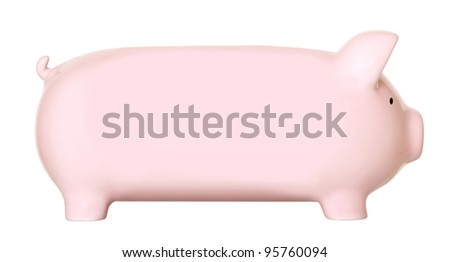 Long pink piggy bank isolated on white - stock photo