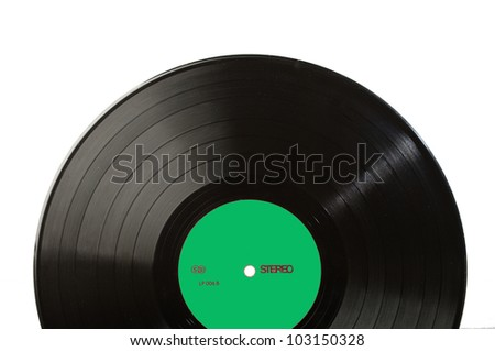 Long play disk with blank label in green. Label designed by myself - stock photo