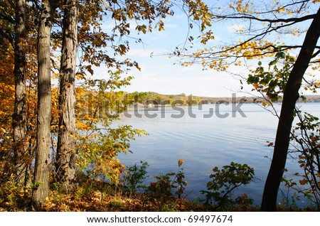 Long Point State Park on Lake Chautauqua - stock photo