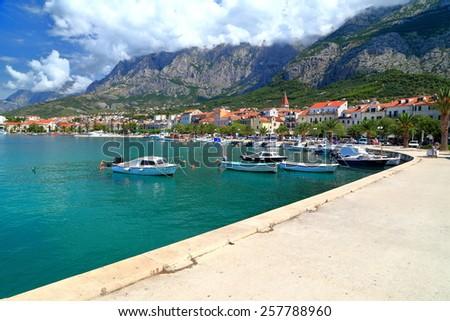 Long promenade near the Adriatic sea coast, Makarska, Croatia - stock photo