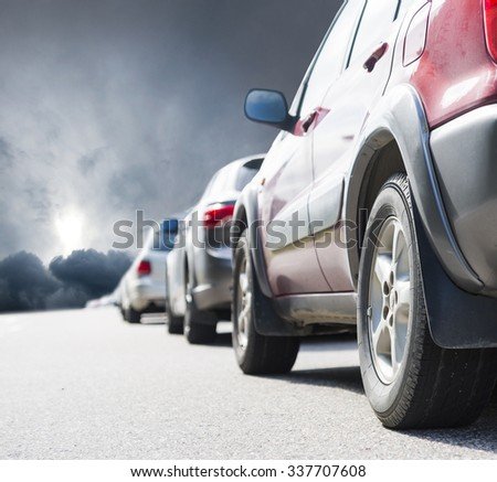long queue of cars on road