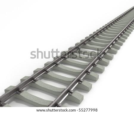 Long Rails Diagonal - stock photo