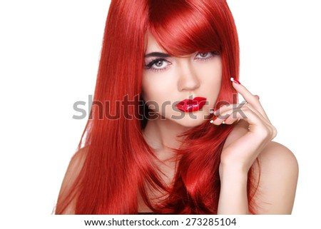 Long red hair. Fashion beautiful girl with makeup, glossy wavy hairstyle, manicured nails. Isolated on white background. - stock photo